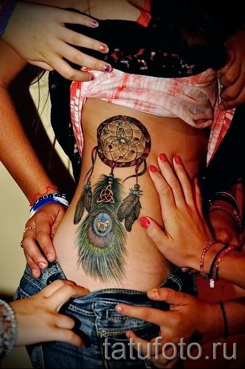 ловец снов тату на ребрах - фотография с примером татуировки от 03022016 7