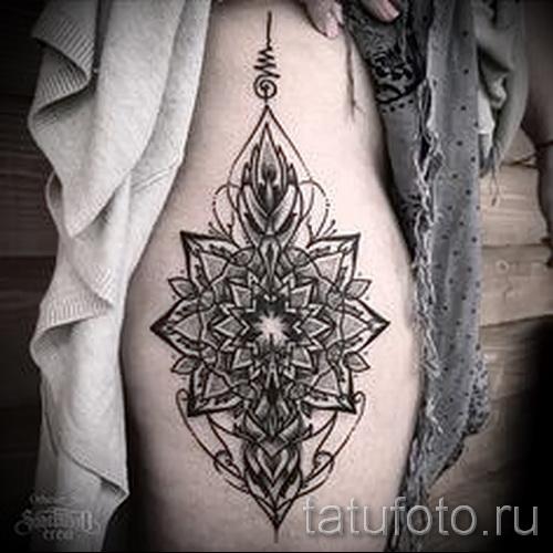 тату на бедре мандала - примеры готовых тату в фотографиях 01022016 3