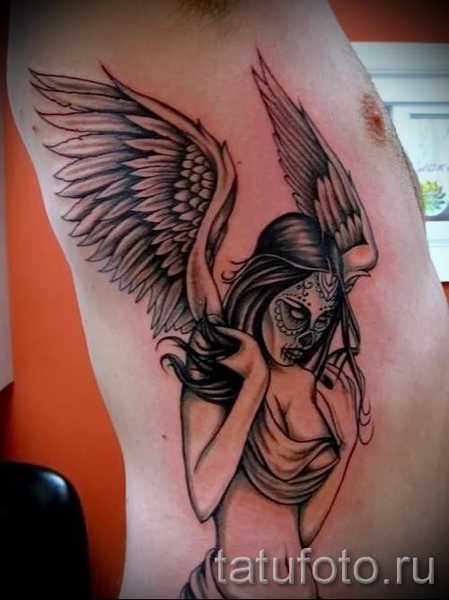 тату на ребрах ангел - фотография с примером татуировки от 03022016 1