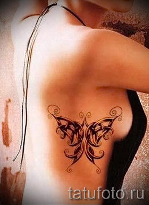 тату на ребрах бабочки - фотография с примером татуировки от 03022016 4