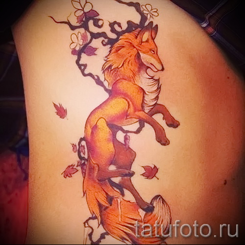 тату на ребрах лиса - фотография с примером татуировки от 03022016 3