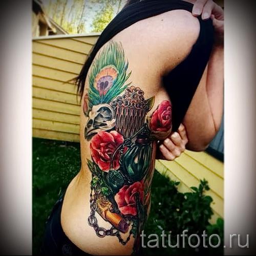 тату перо на ребрах - фотография с примером татуировки от 03022016 11
