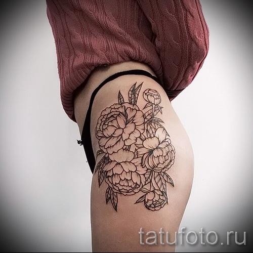 тату пионы на бедре - примеры готовых тату в фотографиях 01022016 2
