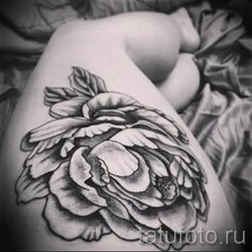 тату пионы на бедре - примеры готовых тату в фотографиях 01022016 3