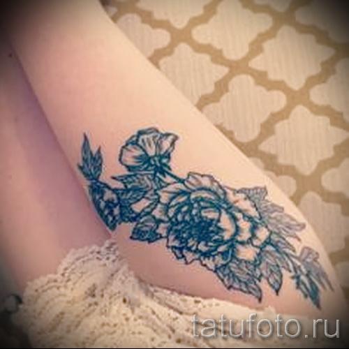 тату пионы на бедре - примеры готовых тату в фотографиях 01022016 5