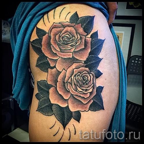 тату розы на бедре - примеры готовых тату в фотографиях 01022016 014
