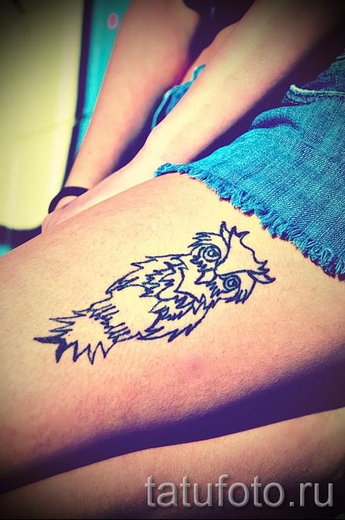 тату совы на бедре - примеры готовых тату в фотографиях 01022016 2