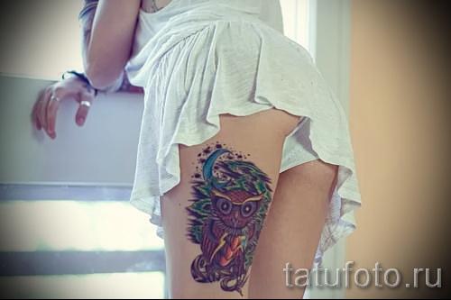 тату совы на бедре - примеры готовых тату в фотографиях 01022016 4