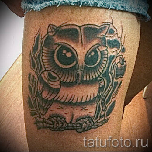 тату совы на бедре - примеры готовых тату в фотографиях 01022016 6