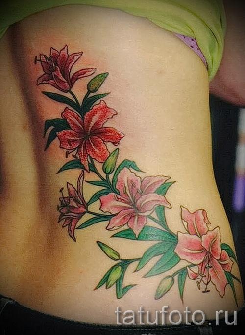 тату цветы на бедре - примеры готовых тату в фотографиях 01022016 - 022