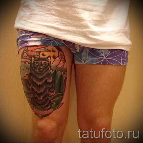 Bear tattoo on thigh 1
