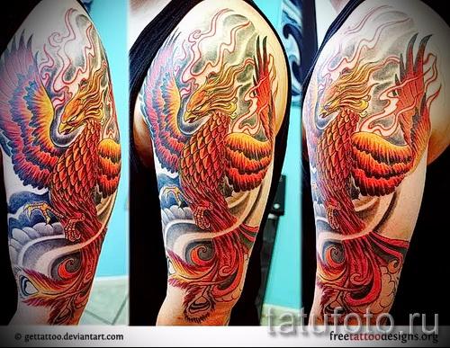 Foto Phoenix Tätowierung auf seinem Arm - ein Foto des fertigen Tätowierung 11022016 2
