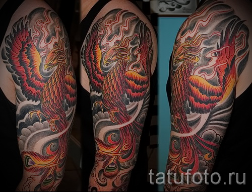 Foto Phoenix Tätowierung auf seinem Arm - ein Foto des fertigen Tätowierung 11022016 1