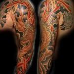 Phoenix Tätowierung Ärmel - ein Foto des fertigen Tätowierung auf 11022016 3