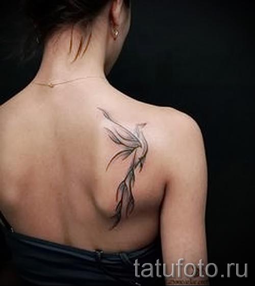 Phoenix Tätowierung auf der Rückseite des Fotos - das Foto des fertigen Tätowierung 11022016 1