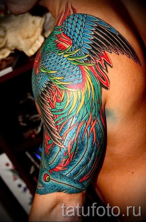 Phoenix Tätowierung auf der Schulter - ein Foto des fertigen Tätowierung 11022016 1