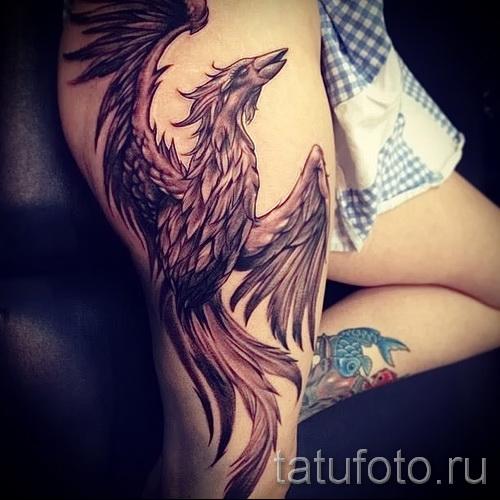 Phoenix Tätowierung auf seinem Bein - ein Foto des fertigen Tätowierung 11022016 2