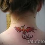 Phoenix Tätowierung auf seinem Hals - ein Foto des fertigen Tätowierung 11022016 1