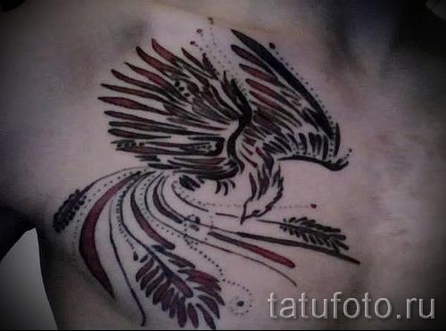 Phoenix Tätowierung auf seiner Brust - ein Foto des fertigen Tätowierung 11022016 1