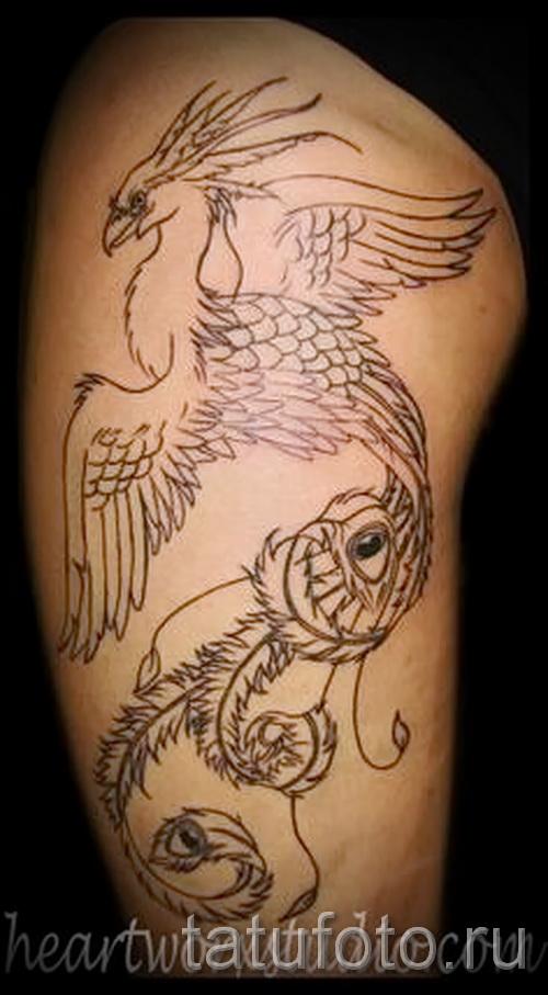 Phoenix Tätowierung auf seinem Bein - ein Foto des fertigen Tätowierung 11022016 1