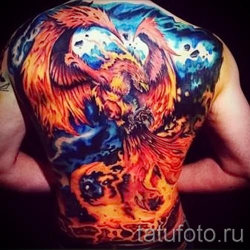 Tattoo Feuer Phoenix - ein Foto des fertigen Tätowierung auf 11022016 2
