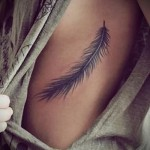 feather tattoo on the ribs - a photo with a tattoo on the example 03022016 1