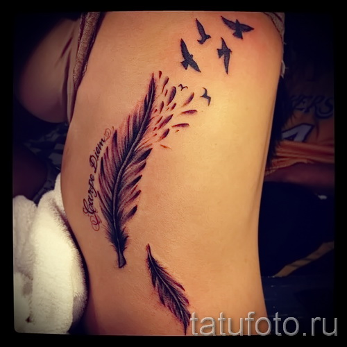 feather tattoo on the ribs - a photo with a tattoo on the example 03022016 2