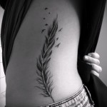 feather tattoo on the ribs - a photo with a tattoo on the example 03022016 5