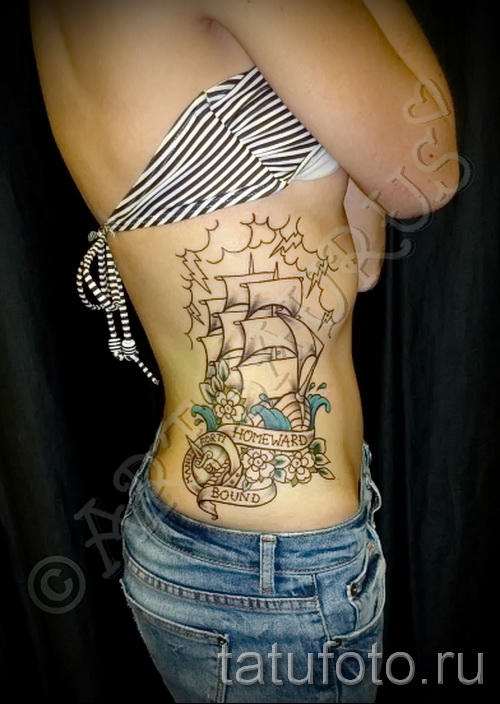 old school tattoo on the ribs - Photo example of a tattoo on 03022016 1