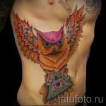owl Tattoo auf den Rippen - ein Foto mit einer Tätowierung auf dem Beispiel 03022016 ё