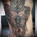 owl Tattoo auf den Rippen - ein Foto mit einer Tätowierung auf dem Beispiel 03022016 3