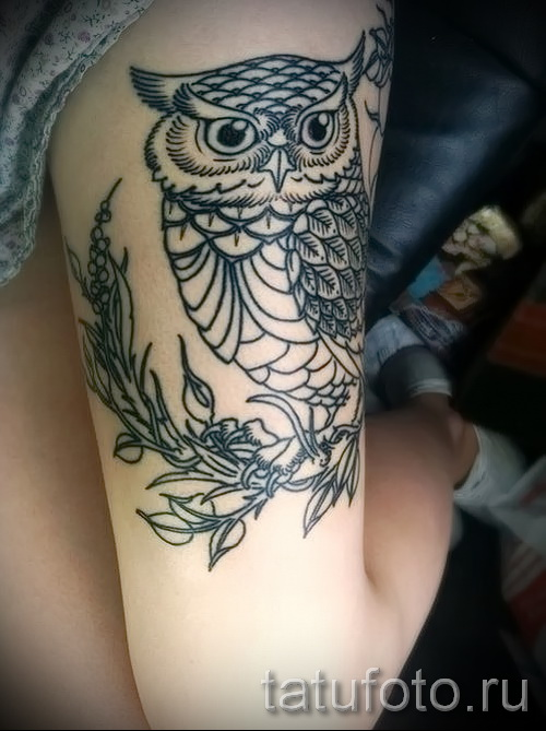 owl tattoo on his thigh 1