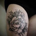 peonies tattoo on his thigh - examples of finished tattoo photos 01022016 1