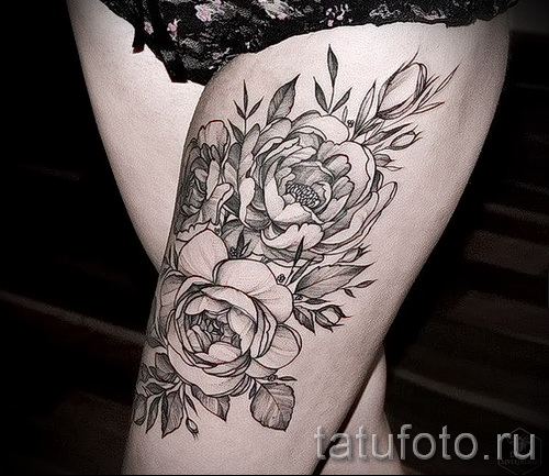 peonies tattoo on his thigh - examples of finished tattoo photos 01022016 2