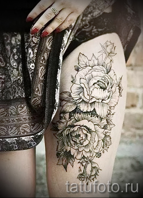 peonies tattoo on his thigh - examples of finished tattoo photos 01022016 3