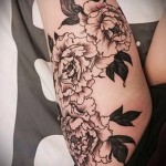 peonies tattoo on his thigh - examples of finished tattoo photos 01022016 4