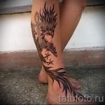 phoenix tatouage sur la jambe - une photo du tatouage fini 11022016 1