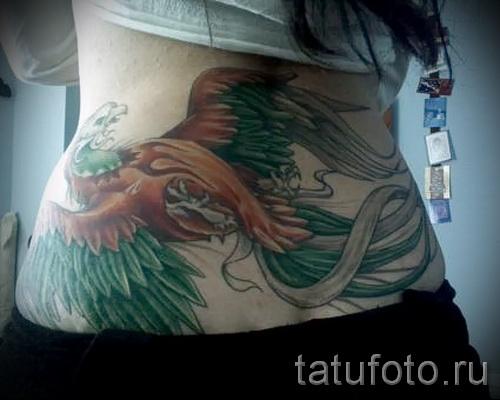 phoenix tatouage sur le bas du dos - une photo du tatouage fini 11022016 3