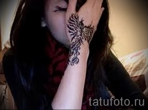 phoenix tattoo on her wrist - a photo of the finished tattoo 11022016 2