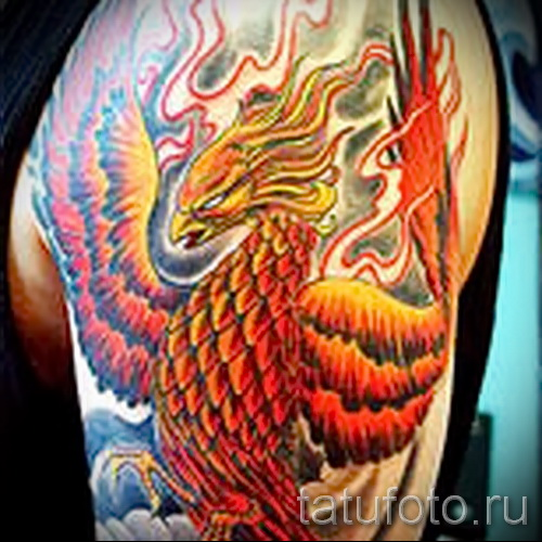 phoenix tattoo on his shoulder - a photo of the finished tattoo 11022016 2