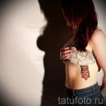 tatouage hibou sur les côtes - une photo avec un tatouage sur l'exemple 03022016 2