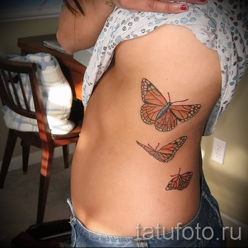 tattoo on the ribs the butterfly - Photo example of a tattoo on 03022016 2