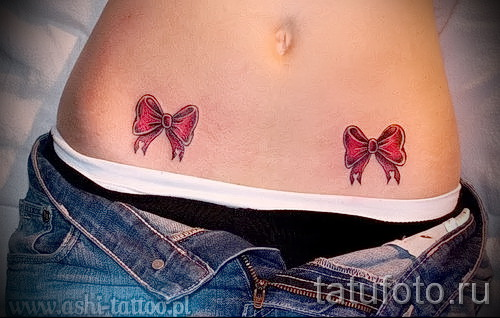 tattoos bows on the hips - examples of finished tattoo photos 01022016 2
