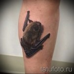 тату в 3д летучая мышь на ноге - пример фотографии готовой татуировки от 02032016 2