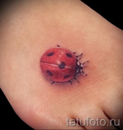 3д тату божья коровка - пример фотографии готовой татуировки от 02032016 2
