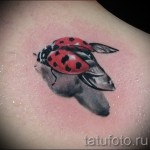 3д тату божья коровка - пример фотографии готовой татуировки от 02032016 3