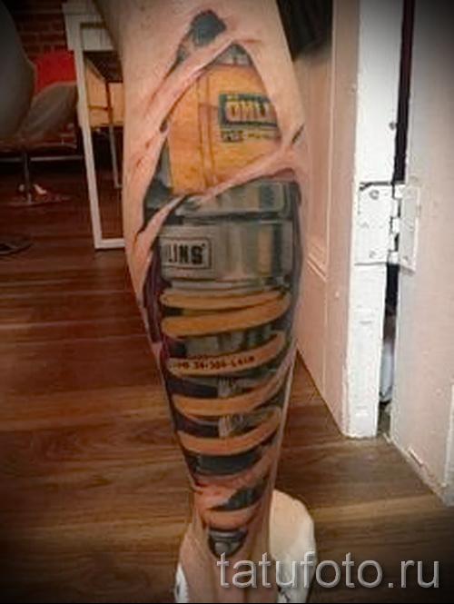 3д тату на ноге - пример фотографии готовой татуировки от 02032016 1