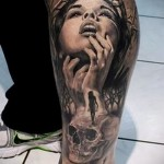 3д тату на ноге - пример фотографии готовой татуировки от 02032016 2