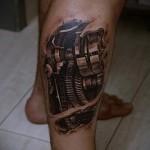 3D-Tattoo auf seinem Bein - ein Beispiel für die fertige Tattoo Fotos von 02032016 3