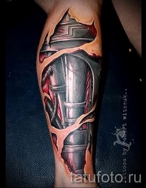 3d tatouage sur sa jambe - un exemple des photos de tatouage finis par 02.032.016 3